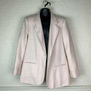 Pink Houndstooth Blazer 16 Wool Print Vintage Coat